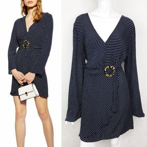 Topshop Tortoise Ring Blue Polka Dot Minidress